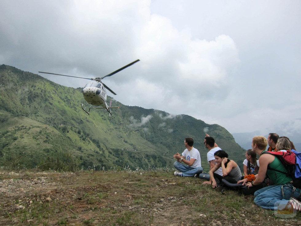Aterrizaje en helicóptero en 'Desafio Everest'