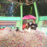 El plató de 'El millonario' inundado de confeti