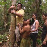 Carlos sube un árbol en 'Perdidos en la tribu'
