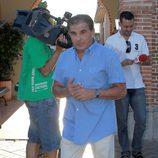 Pedro Ruiz en el tanatorio para despedir a José Luis Uribarri