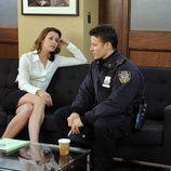 Bridget Moynahan y Donnie Wahlberg en el capítulo 12 de 'Blue bloods'