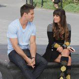 Dean Geyer y Lea Michele rodando la cuarta temporada de 'Glee'