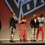 El presentador y los coaches de 'La Voz' en su presentación en el FesTVal 2012