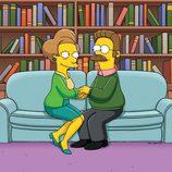 Edna Krabappel y Ned Flanders en la temporada 22 de 'Los Simpson'