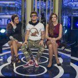 Argi, Edoardo y Susana en la sala de expulsión durante la quinta gala de 'Gran Hermano catorce'