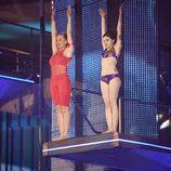 Miriam Díaz Aroca y Angy Fernández protagonizan el primer salto sincronizado de 'Splash! Famosos al agua'