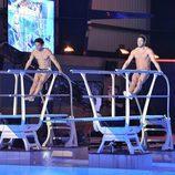 Antonio Rossi y Alessandro Livi saltando juntos en '¡Mira quién salta!'