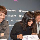 David Feito, Raquel del Rosario y Juan Luis Suárez, ante los medios y los fans