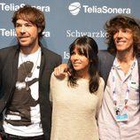 David Feito, Raquel del Rosario y Juan Luis Suárez posan tras su segundo ensayo en Malmö