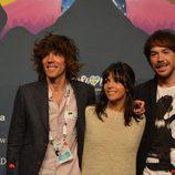 Juan Luis Suárez, Raquel del Rosario y David Feito, tras su segundo ensayo en Malmö
