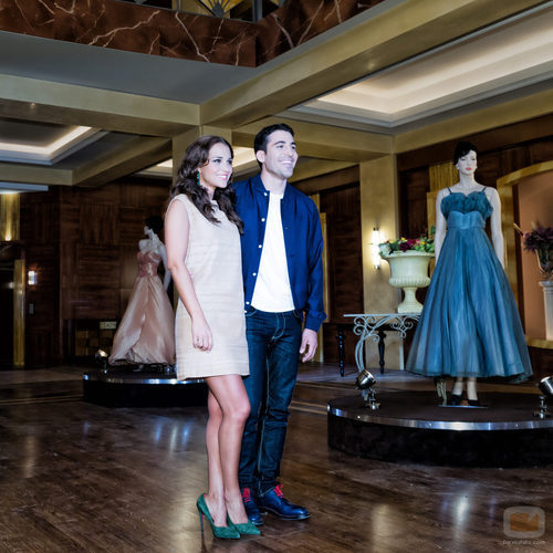 Paula Echevarría y Miguel Ángel Silvestre en la presentación de 'Galerías Velvet'