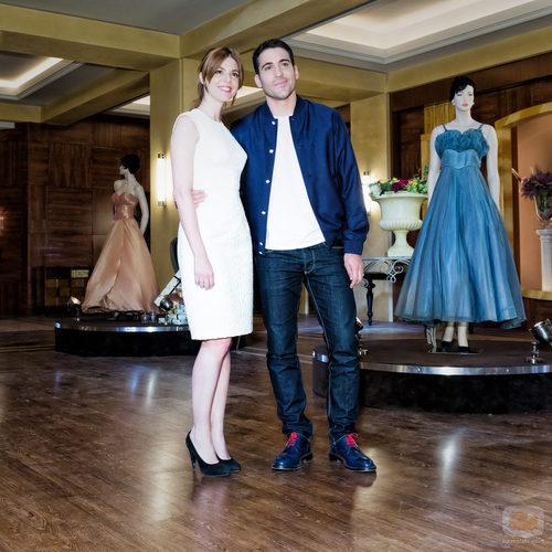Manuela Velasco y Miguel Ángel Silvestre en la presentación de 'Galerías Velvet'