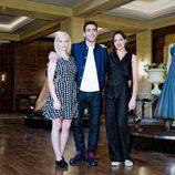 Miriam Giovanelli, Miguel Ángel Silvestre y Natalia Millán en la presentación de 'Galerías Velvet'