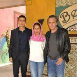 Álex González, Hiba Abouk y José Coronado en la presentación de 'El príncipe'