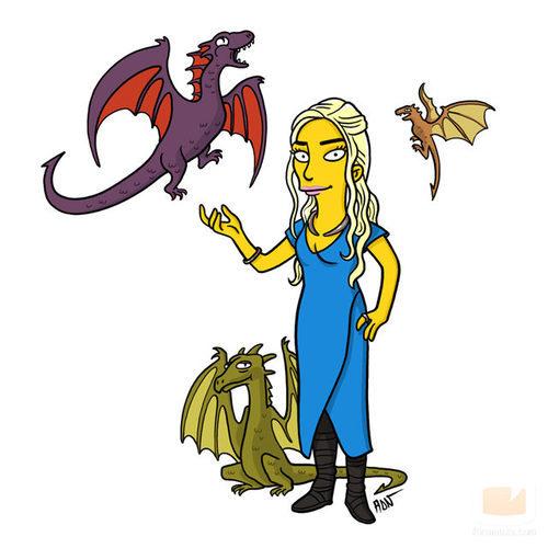 Daenerys Targaryen, de 'Juego de tronos', dibujada como un personaje de 'Los Simpson'
