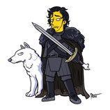 Jon Nieve y Fantasma, de 'Juego de tronos', quedarían así en 'Los Simpson'
