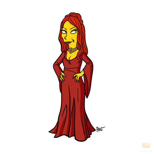 Melisandre, de 'Juego de tronos', como personaje de 'Los Simpson'