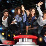Los coaches de 'La Voz 2' luchan por ser el primero en darle al pulsador