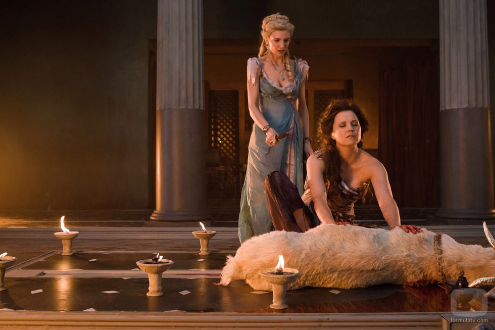 Lucy lawless amp jaime murray threesome sex in spartacus series 6
