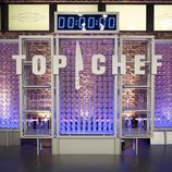 Logotipo de 'Top Chef' sobre botellas de cristal