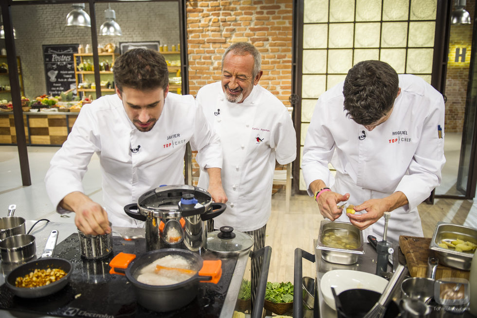 Karlos Arguiñano con Javier Estévez y Miguel Cobo en 'Top Chef'
