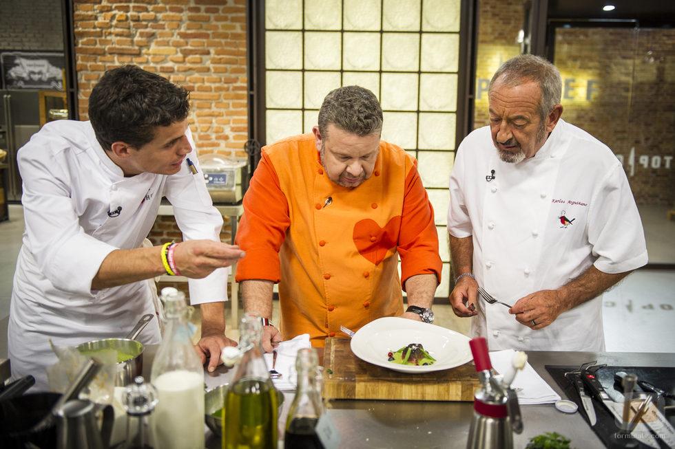 Miguel Cobo, Alberto Chicote y Karlos Arguiñano en 'Top Chef'