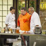 Elisabeth Julianne, Alberto Chicote y Karlos Arguiñano en 'Top Chef'