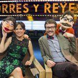 Mara Torres y Joaquín Reyes junto a sus versiones Lunnis