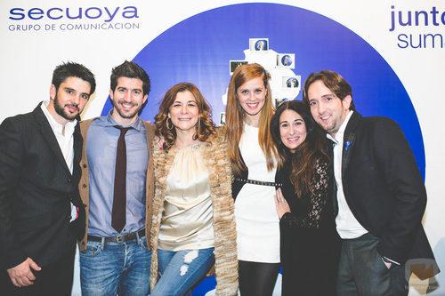 Sonia Martínez, María Castro y Raúl Berdonés en la fiesta del 5º aniversario del Grupo Secuoya