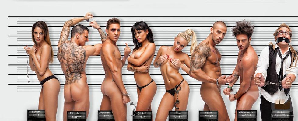 Saray, Ferchu, Juan Carlos, Paola, Niki, Rafa, Alessandro desnudos con Torito