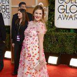 Drew Barrymore, embarazada en la alfombra roja de los Globos de Oro 2014