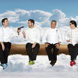 Paco Torreblanca con los mentores de 'Deja sitio para el postre'