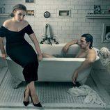 Lena Dunham y Adam Driver en el baño
