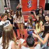David Bisbal, Malú y Rosario con concursantes de 'La Voz Kids'