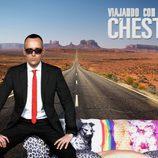 Risto Mejide con el logotipo de 'Viajando con Chester'