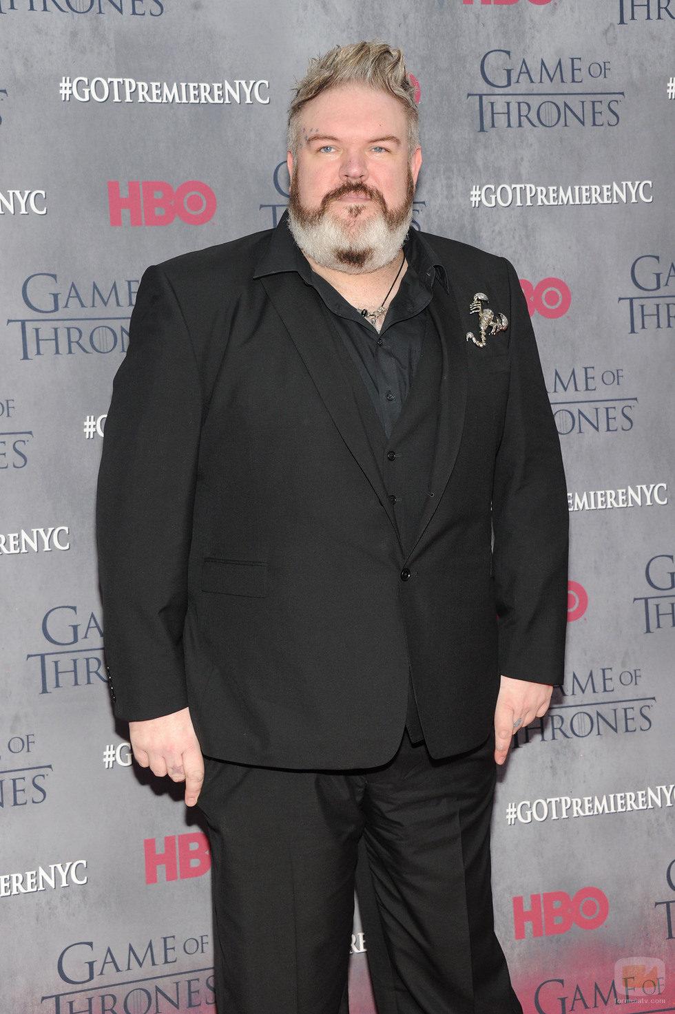 Kristian Nairn en la premiere de la cuarta temporada de 'Juego de tronos'