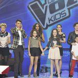 Los tres finalistas esperando para saber el ganador de 'La Voz Kids'
