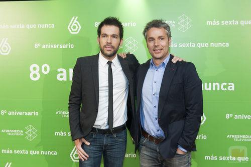 Javier Gómez y Óscar Rincón en el 8º aniversario de laSexta