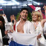 Dima Bilan con la bandera de Rusia en Eurovisión 2008