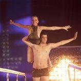 Maribel Sanz y Sergi Capdevilla preparándose para saltar en 'Mira quién salta'