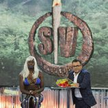 Carolina Sobe, a su llegada al plató de 'Supervivientes 2014'