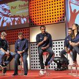 Manu Carreño toma la palabra en la presentación de la cobertura del Mundial de Brasil por Mediaset España