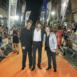 Lorenzo, Janer y Gutiérez en la afombra naranja del FesTVal 2014