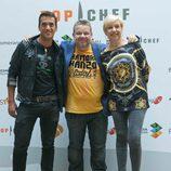 Yayo Daporta, Alberto Chicote y Susi Díaz en la presentación de 'Top Chef'
