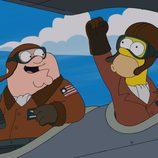 Peter Griffin y Homer Simpson pilotando un avión