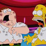 Homer Simpson y Peter Griffin destrozados