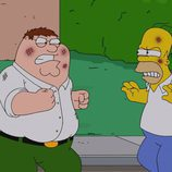 Peter Griffin y Homer Simpson se pelean