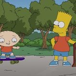 Bart Simpson enseña el monopatín a Stewie Griffin