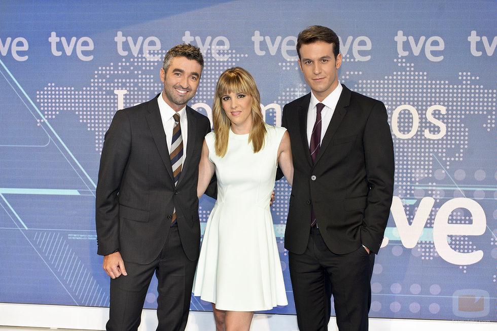 Roi Groba, Ana Ibáñez y Diego Losada en los Telediarios de TVE