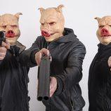 Los tres cerditos con careta